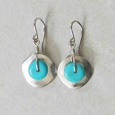 Silver Cornflake Earrings with Turquoise  by RocaJewelryDesigns