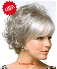 Hot Beautiful Curly Fashion Short Hair Wig Gray Color Women Cosplay Full Wigs