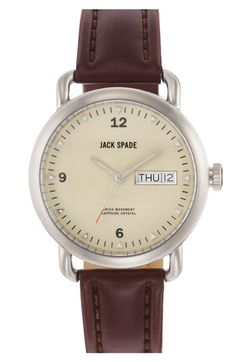 Jack Spade Stillwell Cream Face Stainless Steel Case with Leather Rigid  Heavystitch (Chocolate) - Jewelry - ShopStyle Men 234e7fe6686c1