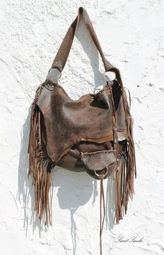 Large tribal leather raw edges brown distressed by SweetSmokebags, $260.00