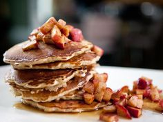 Breakfast of Champions: Oatmeal Pancakes with Maple-Glazed Roasted Apples