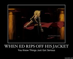Fullmetal Alchemist Edward Elric <-- When people take their clothes off in this show, you know shit is about to get real. Death Note, Full Metal Alchemist, Blue Exorcist, Tokyo Ghoul, Last Exile, Miyazono Kaori, Elric Brothers, Haikyuu, 鋼の錬金術師 Fullmetal Alchemist