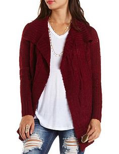 Mixed Stitch Cascade Cardigan Sweater: Charlotte Russe