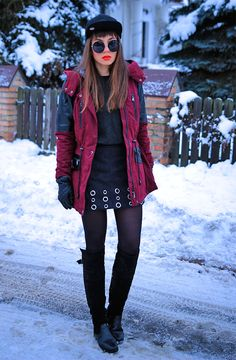Jointy&Croissanty: Burgundy winter parka and skirt with eyelets #fetishpantyhose #pantyhosefetish #legs # #blogger #boots #pantyhose #black
