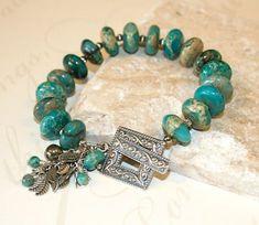 Turquoise Jasper bracelet Southwest by CharmingLifeJewelry on Etsy, $25.00