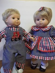 Bitty Baby Twins OverallsShirt Dress Hairbow by SewWeeBoutique
