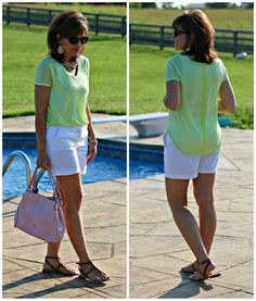 Mixing pink and green with this summer outfit.