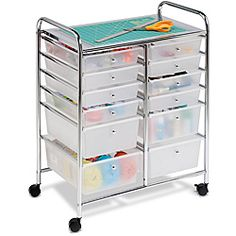 @Overstock.com - This double-wide rolling cart organizer features 12 semi-transparent plastic drawers that allow you to quickly identify drawer contents. Smooth glide casters make this cart easy to maneuver and lock in place for a sturdy work surface.http://www.overstock.com/Home-Garden/Honey-Can-Do-12-drawer-Rolling-Cart/6048124/product.html?CID=214117 $86.47
