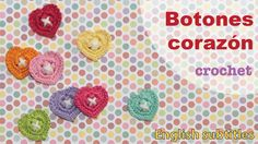 Botones en forma d corazón tejidos a crochet. This video includes English subtitles: heart buttons!
