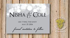 Digital DIY Wedding Invitation - Grey Lights Wedding Save the Date Invitation