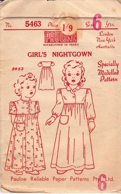 1940s Girl's Nightgown Pattern Pauline 5463 RARE UNOPENED Vintage Sewing Pattern Size 6 Chest 24 inches