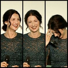 Cait laughing at Sam's adorableness :) Outlander Book Series, Starz Series, Tv Series, Caitriona Balfe Outlander, Jaime Fraser, Sam And Cat, Scottish Actors, Jamie And Claire