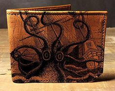 Octopus Attacks Ship Wallet. All of our wallets are handmade from scratch in Oklahoma, USA. Each piece is cut, dyed, sewn, and finished by hand so you know you're getting a top quality product. The image we apply to the wallets is printed and fused with the leather, so as long as the surface of the leather remains, so will the image. This wallet comes with seven card pockets and a cash pocket so you'll have plenty of room for all of your stuff, but we worked really hard to keep it thin...