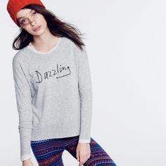 J Crew Wool Blend Sweater Gorgeous and super soft quality sweater. Beaded lettering across the front. This sweater is super versatile in that it can be worn alone or layered with many different tops. Can be dressed up or down. J. Crew Sweaters Crew & Scoop Necks