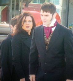 Jared Gilmore, Sam Witwer and Lana Parrilla film Once Upon A Time on March 29, 2016.
