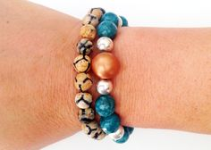 Set of two elastic bracelet with faceted Gemstone beads, 5 Micron Silver-plated balls and handmade bead.