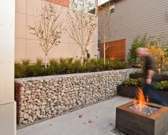 Unique Gabion Wall Garden design - Decorate Your Home Fence Landscaping, Backyard Fences, Garden Fencing, Gabion Retaining Wall, Retaining Wall Design, Gabion Stone, Garden Wall Designs, Small Garden Design, Gabion Baskets