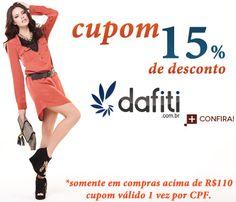 Cupom de desconto de 15% exclusivo para comprar no site da Dafiti até o dia 10/10. Aproveita!