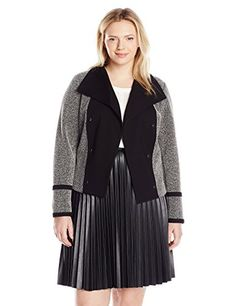 04f1e81ff9938 Calvin Klein Women's Plus-Size Jacquard Flyaway Jacket Flyaway jacket in  blocked solid knit and marled jacquard featuring taping at sleeve cuffs