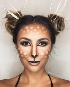 Make deer costume yourself- Reh Kostüm selber machen Inspiration, all accessories and make-up instructions to make your own Bambi costume. Looks Halloween, Halloween Make Up, Halloween Face Makeup, Deer Costume Makeup, Deer Costume Diy, Costume Ideas, Halloween Ideas, Halloween Halloween, Plus Halloween Costumes