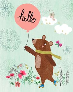 Hello Bear...Giclee print of an original by DrawnByRebeccaJones