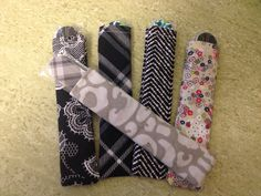 Thirty one nail file cozies made from old fabric swatches. Make great give-aways at parties or thank you gifts.