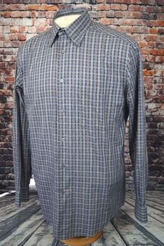 Zanella Men's Casual Dress Shirt Blue Gray Plaid Check Sz. M Medium Italy Made #Zanella #ButtonFront