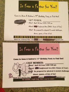 Fear Factor Party I have boy/girl twins, so I tailored the invitations.