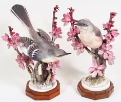 Pair of Royal Worcester Dorothy Doughty Mockingbirds with Peach Blossoms