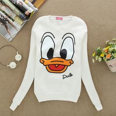 S39 2013 Fashion Women Funny Animal Sportswear Cartoon Donald Duck print Pullovers Sweatshirts Hoodies sweaters Tops