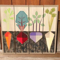 Roots Barn quilt Be cute for the vegetable table Barn Quilt Designs, Barn Quilt Patterns, Quilting Designs, Block Patterns, Flat Design, Quilting Projects, Art Projects, Painted Barn Quilts, Barn Signs