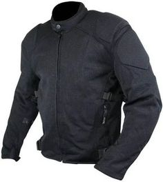 Men's bite-proof Black Mesh Padded with Level-3 Advanced Armored Motorcycle Jacket.