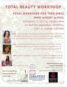 Total Beauty Workshop is a must for any teenage girl. True beauty comes from within!!