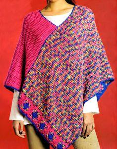 tejidos artesanales en crochet: poncho tejido en crochet