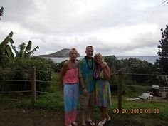 Cindy, Linda and Steven at the Chiefs Luau