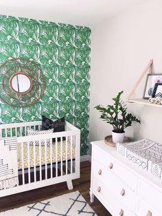 Fern Wallpaper in Shared Boy Girl Twin Nursery