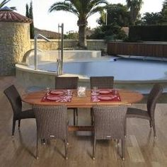 Outdoor Patio Set - Le Mans 7-Piece Dining Set - BT-LEMANS by International Home. $1469.99. Great quality, stylish design patio sets, made of 100% FSC eucalyptus wood, aluminum and synthetic wicker. Enjoy your patio with elegance all year round with the wonderful Atlantic outdoor collection. Includes: 1 x Oval Extendable Table 6 x High-Back Chairs BT-LEMANS Features: 7 Individual pieces Wood color: Brown, Wicker color: Grey/Beige Could be used indoors or outdoors Great ...