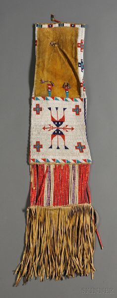 Lakota Beaded and Quilled Pipe Bag, lg. including fringe 39 in.