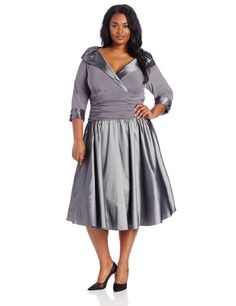 Silver grey plus size mother of the bride dress by Jessica Howard with 3/4 sleeves, rouched waist, V-Neck and tea length skirt