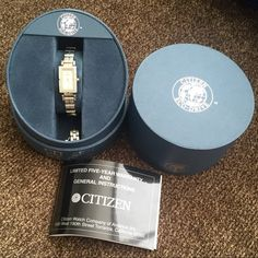 Citizen Eco-Drive Diamond Bezel Watch Two tone stainless watch has a mother of pearl face with a diamond bezel - .20 carat weight. Comes with case, booklet and extra links for sizing. I just found this while cleaning out storage - may have been worn once, otherwise in like new condition. Citizen Accessories Watches