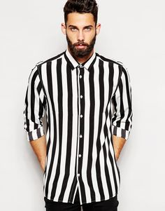 ASOS+Shirt+In+Long+Sleeve+With+Monochrome+Stripe