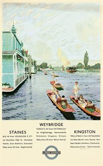 Charles Pears (1873-1958)  STAINES, WEYBRIDGE, KINGSTON  offset lithograph in colours, 1935,