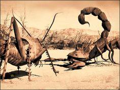Scorpion Cricket Sculptures - Anza Borrego Desert Photograph by Douglas MooreZart  #photography #fineart #artforsale #ironsculptures #anzaborrego #douglasmoorezart