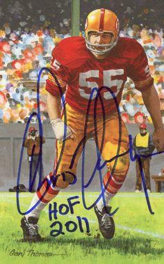 Redskins Chris Hanburger signed Goal line art card GLA