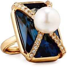 Oscar De La Renta Pearly Crystal Octagon Statement Ring ($290) ❤ liked on Polyvore featuring jewelry, rings, dark blue, beaded jewelry, crystal bead jewelry, crystal rings, crystal jewelry and cocktail rings