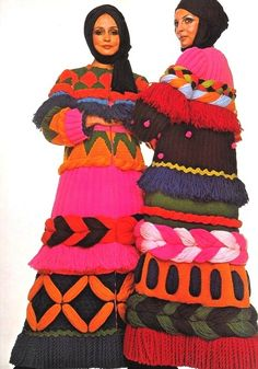 Models wearing Carosa woollen coats for Vogue, 1969.