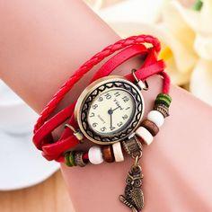 Retro Owl Pendant Woven Bracelet Watch