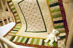 Patchwork handmade quilt Happy sheep for baby by patchworkspace