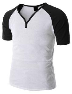 Doublju Mens Henley Shirts with Short Sleeve Raglan in 4 Colors WHITEBLACK L (DAMS49) $16.99 #Apparel #Doublju
