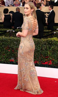 SAG Awards 2017: Best Red Carpet Dresses from Behind - Emily Blunt in Cavalli Couture